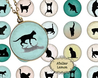 Digital Collage Sheet Circle Cats Silhouettes, 1 Inch Circles Digital Collage Instant Download