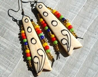 long bone earrings, tribal earrings, african earrings, colorful, multicolor seed beads earrings, ethnic earrings, ooak, handmade,