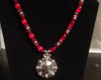 Silver and Red Western Necklace