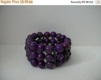 ON SALE Vintage Chunky Triple Row Purple Plastic Beaded Stretch Bracelet 371