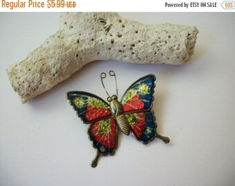 ON SALE Vintage 1950s Colorful Metal Butterfly Pin 61916