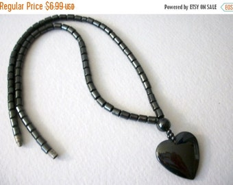 ON SALE Vintage Hematite Heart Pendant Necklace 63016