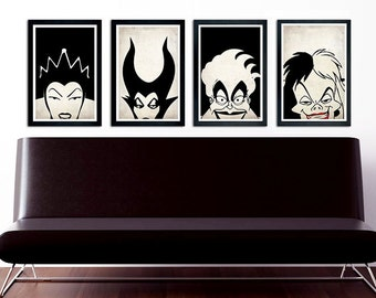 Disney Villains Poster Set, Maleficent, Ursula, The Queen, Cruella De Vil