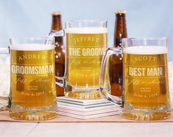 Groomsmen Beer Mugs - 25 oz Engraved Mug - Best Man Gift - Personalized Groomsmen Gift - Wedding Party Favors - Gifts - Custom Groom Gift
