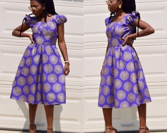 African women ankara below the knee length purple with golden color dresses with two sides pockets,African clothes