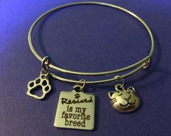 Rescue cat charm bracelet