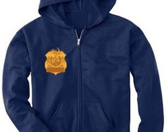 Front with Name on Badge and Back with Logo on a Fleece Zip-Up Hoodie