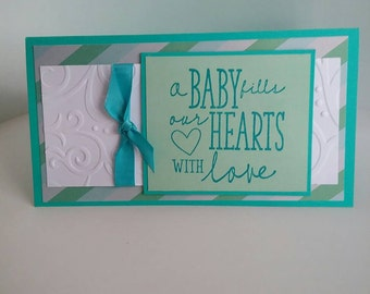 Handmade stamped and embossed Baby boy money/gift greeting card holder for babyshower.