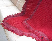Crocheted Cranberry Red Afghan/Blanket/Throw.....Ships Free!!