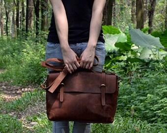 """13"""" 14"""" Laptop Leather Messenger Bag full grain leather messenger bag leather bag laptop bag handmade leather bag Gift for Him or Her"""