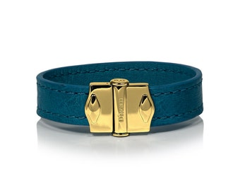D'Monti Coral Blue Mothers Day Gift Ideas - France Luxury Exotic Genuine Real Ostrich Leather Mens Womens Unisex Single Cuff Bracelet