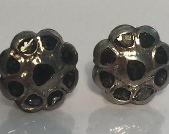 Georgian Style Sterling Silver And Diamond Earrings