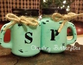 Mason Jar Salt and Pepper Shaker ~ Rustic Kitchen Decor ~ Hand Painted ~ Handmade ~ Country Decor ~ Salt & Pepper