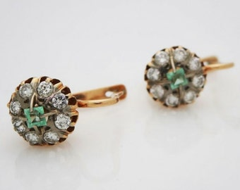 ON SALE * Antique Russian 14kt Yellow Gold Lever Back Emerald And Diamond Earrings