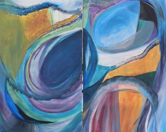 Abstract Diptych Oil and Acrylic on Canvas