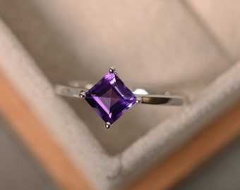 Amethyst ring, purple gemstone, sterling silver, square amethyst, solitaire ring