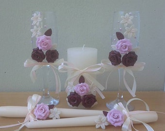 Beautiful candles and glasses for a perfect wedding