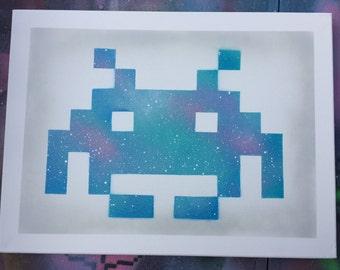 Space invader canvas art
