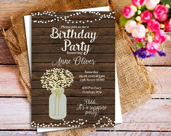babys breath invite, baby's breath jar birthday invitation, mason jar baby's breath party invite, birthday bash rustic invitation, best