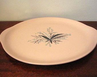 Vintage Pink Crooksville Carnation Remembrance Platter