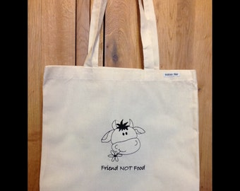 Vegan inspired 'Friend NOT Food', tote bag