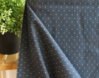 Robert Kaufman Indigo Chambray 57in Wide | Cotton Chambray Dots Collection| By the yard