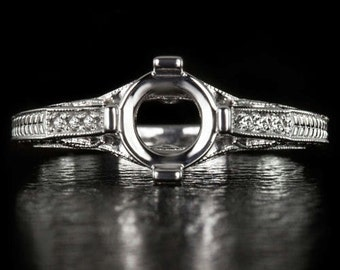 Vintage Antique Diamond Semi Mount Setting Engagment Ring 14K White Gold Filigree 3767