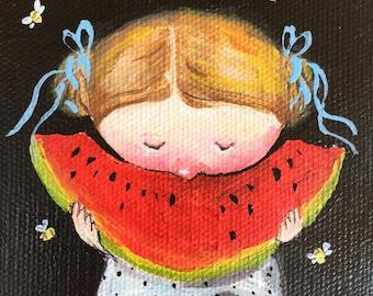 Original acrylic painting on mini canvas 3.5x5 inches Watermelon