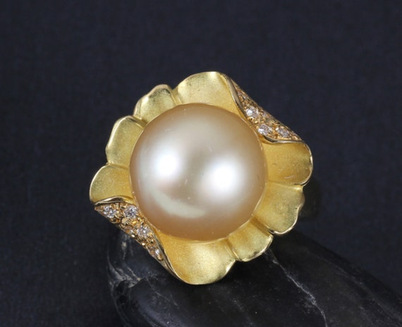Flower Shaped Pearl Engagement Ring by MissIrisJewelry on Etsy