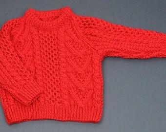 Childs Round Neck Aran Sweater