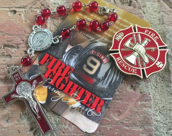Firefighters Car Rosary & coin