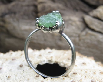 Silver plated electroformed ring with raw green tourmaline   Silver plated tourmaline ring   Raw tourmaline electroformed ring