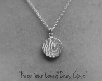Fingerprint Necklace Silver/Personalized Jewellery