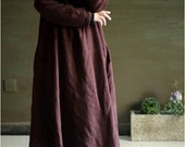 Brown long sleeved loose linen dress, flax hemp cotton blend women casual autumn winter clothing, maxi long dress coat, V neck gown 022