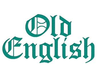 Old English Machine Embroidery Font Monogram Alphabet, Gothic Embroidery Font, Medieval Embroidery, Baseball Embroidery Font - 3 Sizes