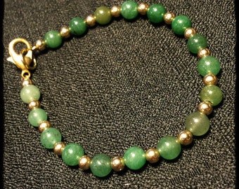 "7 1/2"" Adventurine Stone with 14K Bead Bracelet"