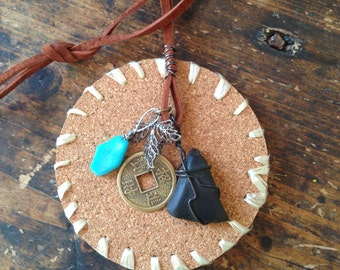 Leather Charm Necklace