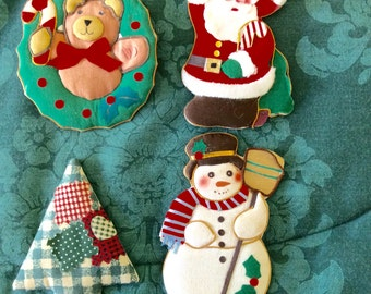 4 WINTER/CHRISTMAS Refrigerator Magnets -- Set Of FOUR!