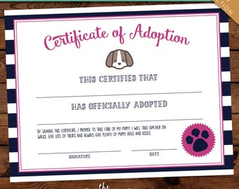 Puppy Pawty Certificate of Adoption -- Instant Download