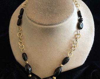 Vintage Black Glass Beaded Toggle Necklace
