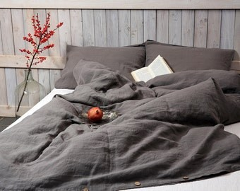 Linen duvet cover in graphite / Dark gray color / Stonewashed and soft flax