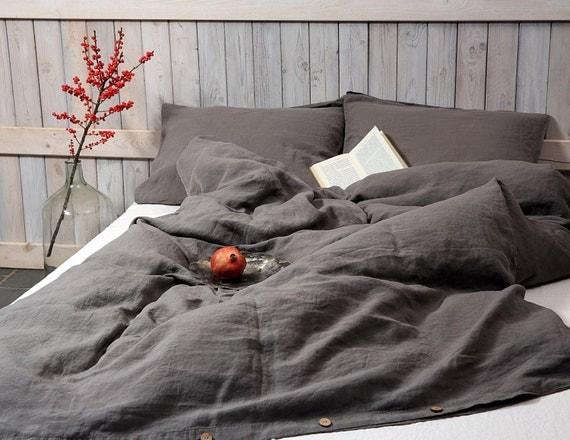 linen duvet cover in graphite dark gray color stonewashed. Black Bedroom Furniture Sets. Home Design Ideas