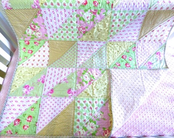 SHIPS TOMORROW! SALE Cottage Roses Lap Quilt, modern, shabby chic, gold,  floral, pink, green, stripes, minky