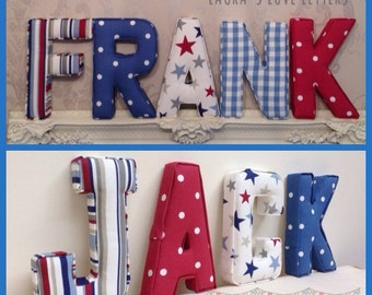 Fabric letters, fabric padded letters to make any name, A-Z, personalised, initial, name, alphabet, baby room nursery, wall art