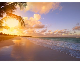 PS0398 Poster Print Art Beautiful sunrise over the tropical beach SEASCAPE Ocean