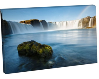SE26074 Print On Canvas Beautiful Landscape Godafoss waterfall Iceland RAINBOW