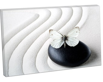 FO0428 Print On Canvas Zen stone with White butterfly PEBBLE STILL Life