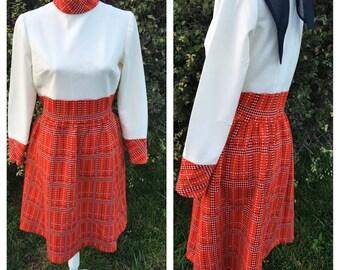 Vintage Polyester Mod Style Dress, 1960s