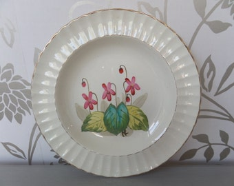 "Victorian Porcelain Soup Plate (1887) Edwin J Bodley 10.5"" Pink Flower"