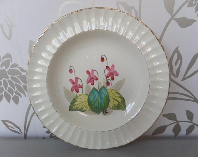 "Antique Plate, Victorian Porcelain Soup Plate (1887) Edwin J Bodley 10.5"" Pink Flower, Hand Painted"